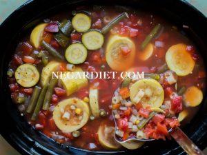 خوراک کدو و سبزیجات