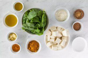 مواد لازم پلو با اسفناج و توفو هندی